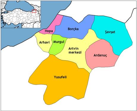 artvin il haritası