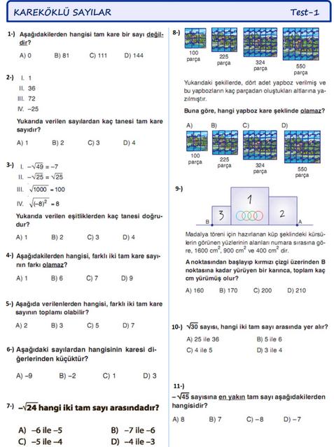 8 Sınıf Kareköklü Sayılar Test Soruları Ve Cevapları Teog Hazırlık