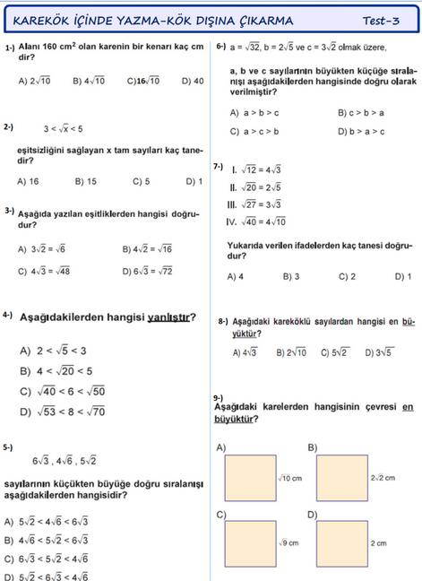 Matematik 8.Sınıf Kareköklü Sayılar Yaprak Test Soruları Teog