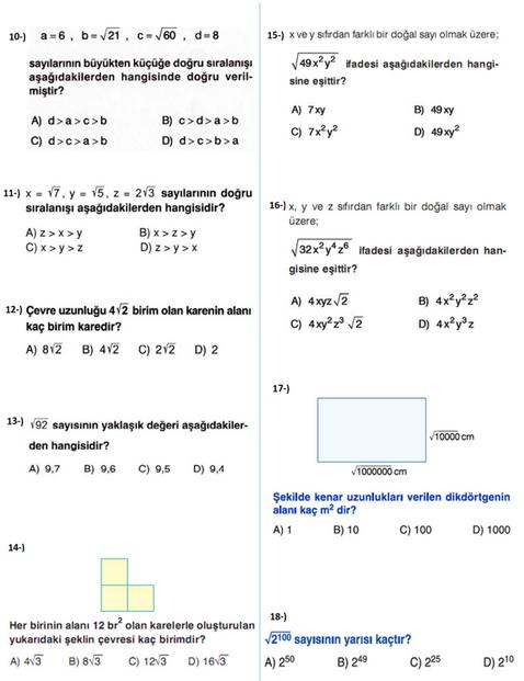 8.Sınıf Matematik Kareköklü Sayılar Konu Yaprak Test Soruları Ve Cevapları