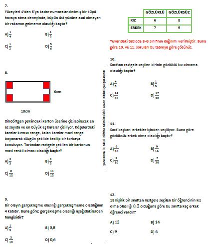 cevaplı TEOG 2.dönem 8.sınıf deneme sınavı soruları
