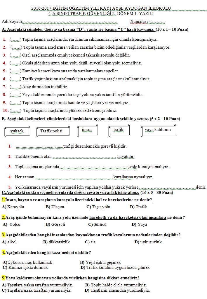 Trafik Güvenliği Dersi 4sınıf 2dönem 1yazılı Sınavı Soruları