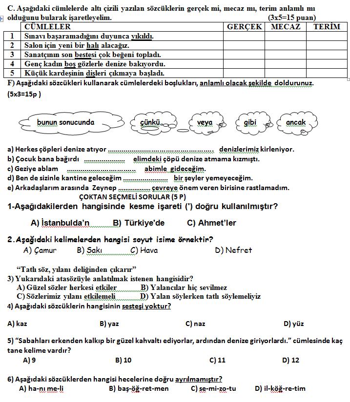 4sınıf Türkçe Dersi 2dönem 1 Yazılı Sınav Soruları Değerlendirme