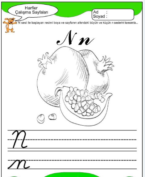 N Harfi Sesi Düz Yazı Çizgi Etkinlikleri Çalışma Sayfası n Sesi Yeni