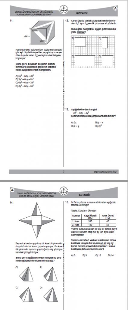 2018 LGS Sınavı Matematik Soruları ve Cevapları