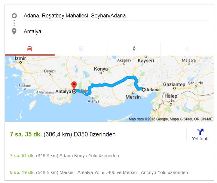 Adana Antalya Arası Yol Haritası,Adana Antalya Yol Mesafesi Kaç Km