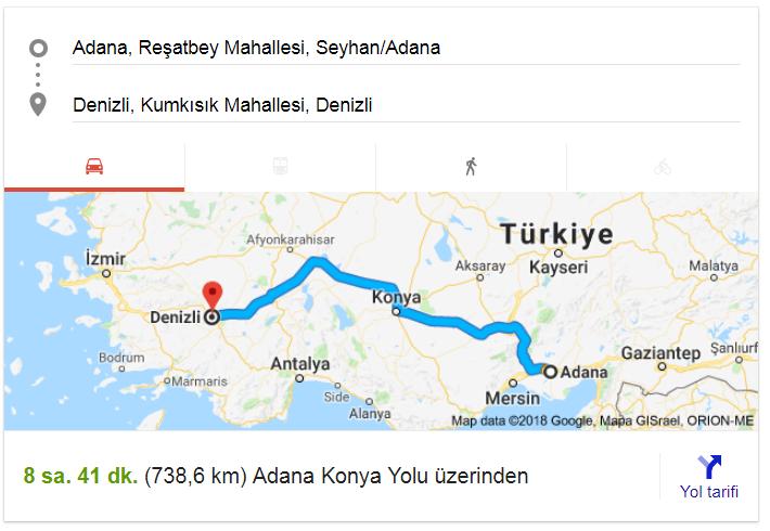 Adana Denizli Arası Yol Haritası,Adana Denizli Yol Mesafesi Kaç Km,Nasıl Gidilir