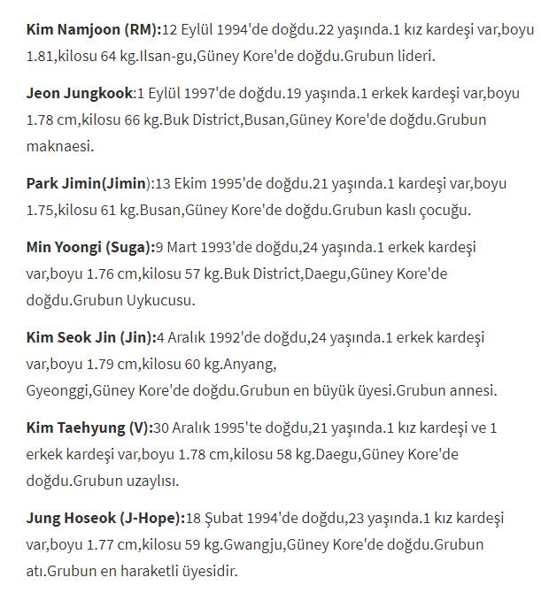 BTS üyelerini tanıyalım,BTS nedir,BTS kimdir,BTS Elemanları hakkında bilgi