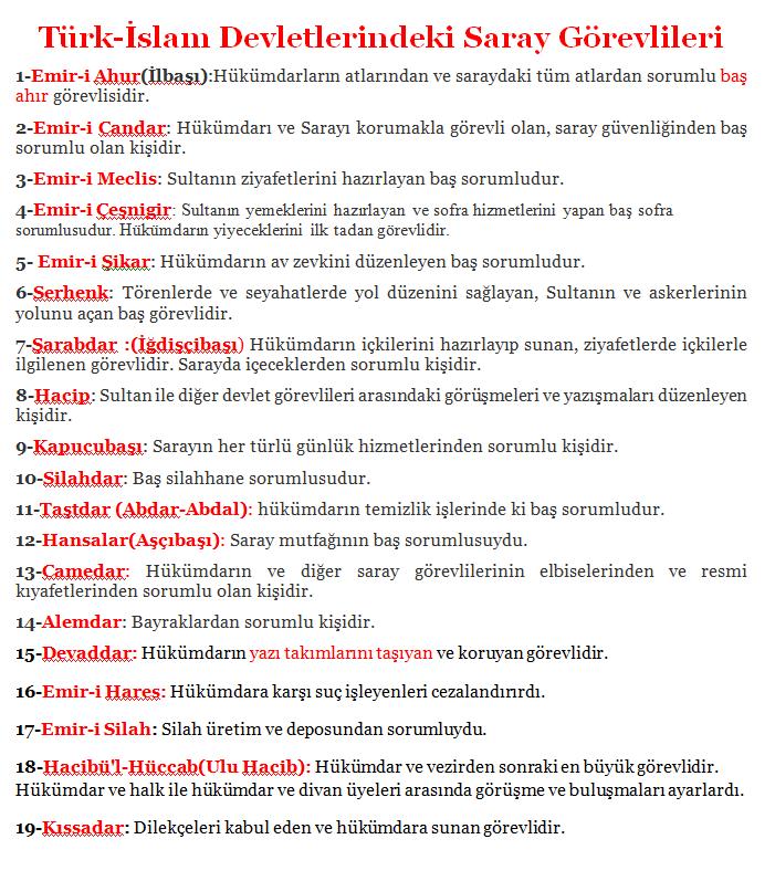 Türk islam devletlerindeki görevlilerin isimleri ve görevleri nelerdir