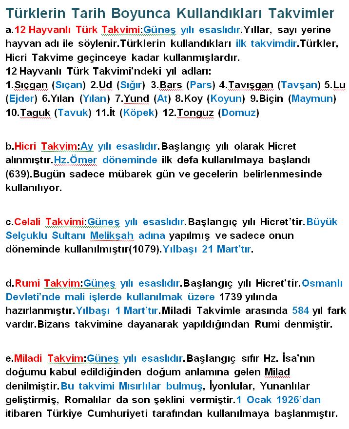 Türklerin Tarih Boyunca Kullandıkları Takvimler ve Özellikleri
