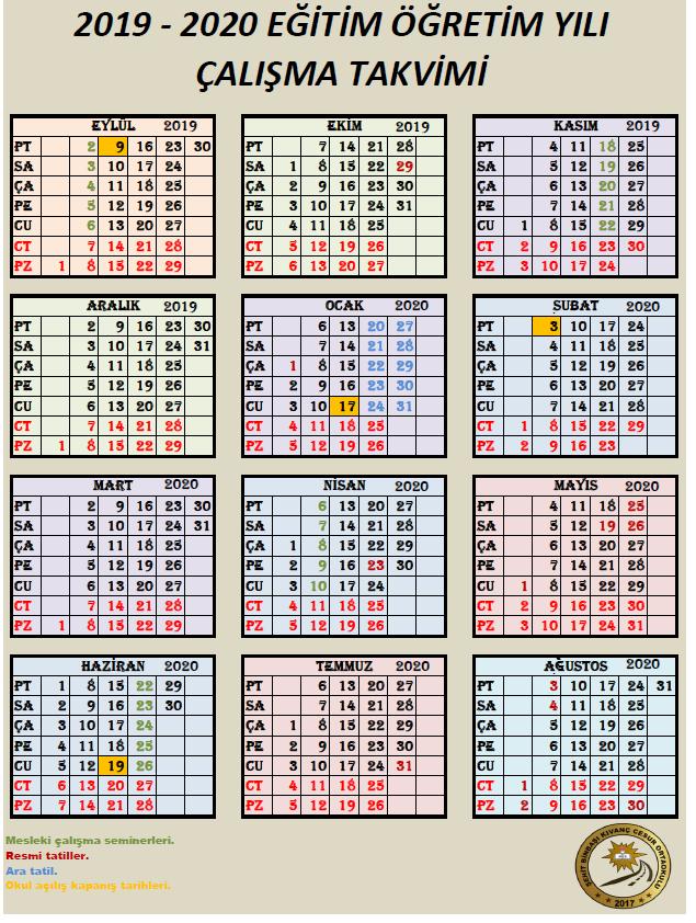 2019-2020 Eğitim Yılı Meb Çalışma Takvimi